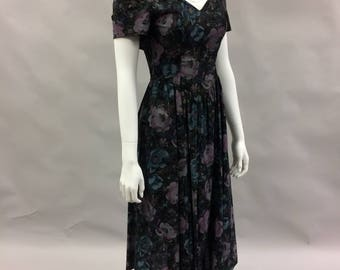Off Shoulder Dark Floral Summer Dress by All That Jazz 1980's 1990's | Size Extra Small Size 2 | Summer Dress | Goth Princess | Day Dress