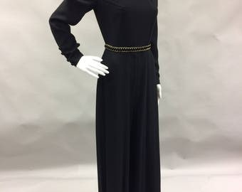 1970s Black Victorian Disco Jumpsuit with Long Sleeves and High Collar Size 4 Small