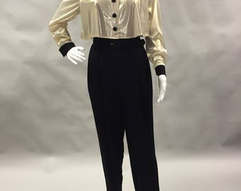 90s Gold and Black Ultra High Waisted Jumpsuit Long Sleeve Tappered Leg 1980s 1990s All in One with Cropped Jacket Size Medium