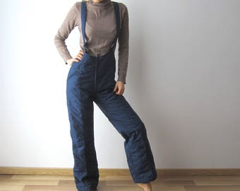 Navy Skiing Pants 90s Winter Hipster Snow Pants Vintage Windbreaker Pants Medium Size Dark Blue Skiing Overalls Trousers