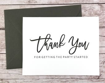 Thank You for Getting the Party Started Card, DJ Thank You Card, Wedding Vendor Thank You - (FPS0017)