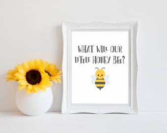 "What Will Our Little Honey Bee 8""x10"" Bee Baby Shower Decorations 