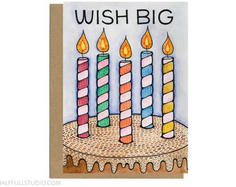 Wish Big Birthday Card, Birthday Cake Card, Birthday Wish Card, Birthday Husband, Birthday Boyfriend, Birthday Candles Card, Cake Lover