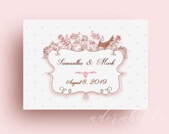 Love Birds Wedding Invitation Template Lovely Printable Pink