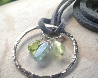Circle necklace, circle pendant, crystal pendant necklace, silver circle pendant, gemstone pendant, gifts for her, gemstone jewelry,