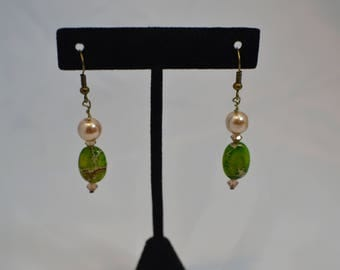 Handmade Beaded pierced dangle EARRINGS #247