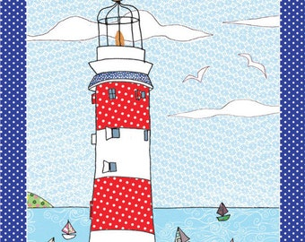 Lighthouse kitchen towel - coastal home tea towel - colorful printed kitchen towel for beach houses everywhere. A design from MollyMac