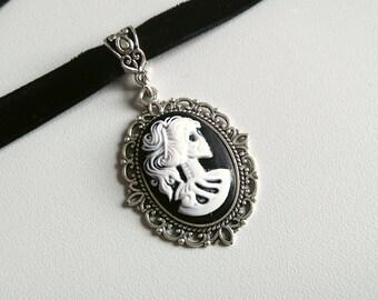Skeleton Lady Cameo Choker   black velvet choker   choker necklace   black gothic choker   skeleton cameo pendant