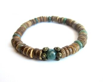 Mens coconut bracelet, stretch bracelet wood bead bracelet, coconut and stone bead bracelet, mens elastic bracelet, brown green men bracelet