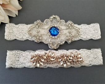 Wedding Bridal Garter - Something Blue Rose Gold Clear Crystal OFF WHITE Lace Garter Set