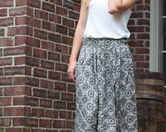 Aztec Vintage Skirt - S/M Skirt - Vintage Clothes - Boho Skirt - Black & White Skirt - Rena Rowan - Boho Skirt