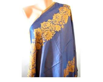 Gold navy blue scarf Shine amazing scarf Satin scarf Double sided scarf Soft large scarf Laser leaf scarf Oversize scarf Women fashion gift