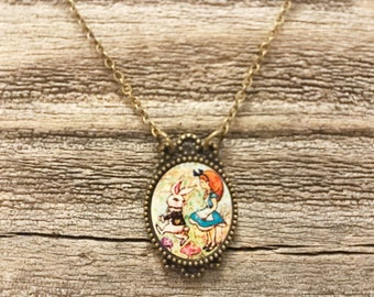 Alice in wonderland necklace white rabbit necklace