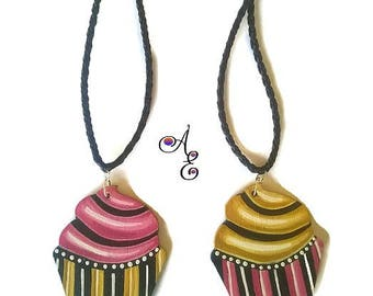 Cupcake Necklace, Cupcake Pendant, Cupcake Jewelry, Retro Jewelry, Abstract Pendants, Cupcake Charm, Hand Painted, Pastry Jewelry, Pendants