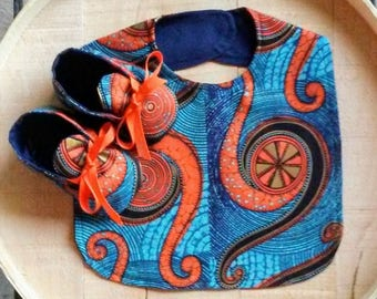 Orange Turquoise African Wax Pin Wheel Print Crib Shoes and Bib Set