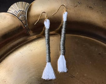 Long Wrapped Rope Earrings Olive Green