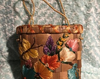 1960s vintage basket purse, wicker bag with flowers and butterflies, straw basket style purse