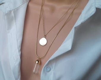 Layering necklace | clear quartz necklace | gemstone necklace | layered necklace | quartz pendant | crystal quartz jewelry | quartz point