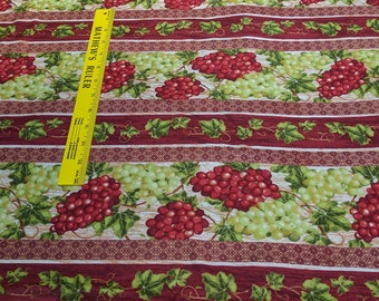 Wine Country-Grapes Striped Cotton Fabric from Fabri Quilt