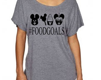 Women's Disney Life Shirt - Food Goals - Mickey Ears - Dole Whips -Apples - Ice Cream T Shirt Great for trip to Disneyland or Disney World