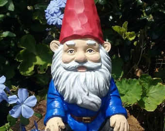 "Gnome, Relaxing Garden Gnome, 5"" 1/2 Inches Tall, Solid Cement,  Traditional Gnome,"