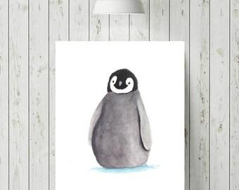 Penguin Print, Watercolour Print, Nursery Watercolour, Baby Animal Nursery Art, Nursery Print, Nursery Decor, Nursery Animal Print