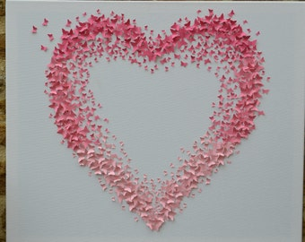 Heart Wall Art ombre 3d butterfly wall art/butterfly heart wall decor/3d