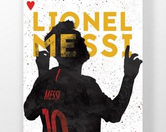 Lionel Messi, fc Barcelona, La Liga, Illustrated football poster
