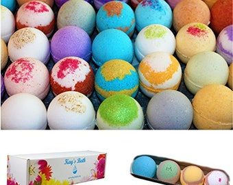 Bath Bomb Gift Set - 4 Pack - Individually Wrapped Assorted Scents - Natural Ingredients - Shea & Mango Butter