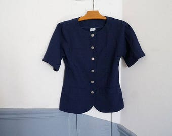 Vintage, blue stewardess - t 36 type blouse shirt