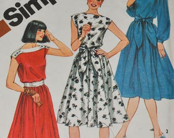 "Vintage 1980s Simplicity 5325 Sewing Pattern Dress, Boat Neck Bateau Neckline Size 14 Bust 36"", Gathered Waist Full Skirt"