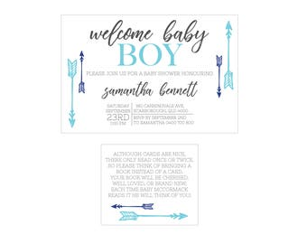 Arrow Baby Shower Invitation // Boy