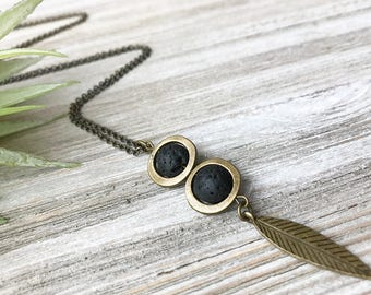 Black Lava Stone Diffuser Pendant Necklace // Long Necklace // Essential Oil Diffuser Necklace // Diffuser Jewelry // Natural Stone Necklace