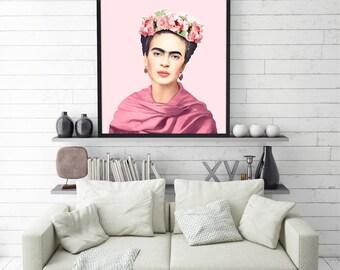 Frida Kahlo • Printable Art Watercolor Print Art Deco Print Instant Download Art Vintage Art Boho Art Celebrity Poster Celebrity Art Decor