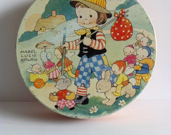 Mabel Lucie Attwell tin, Huntley and Palmer 1950's enamel biscuit tin.