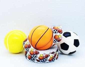 "7/8"" Sports Ribbon, Sports Balls Print Grosgrain Ribbon"