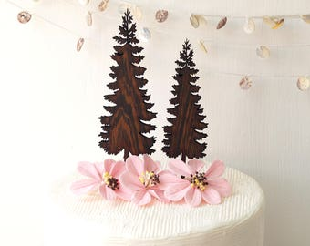 Tree cake toppers, wedding cake topper, wooden cake topper, fir trees topper set, rustic cake topper, woodland wedding decor
