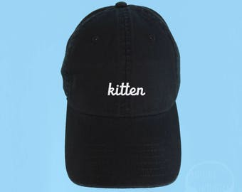 KITTEN Dad Hat Embroidered Baseball Cap Low Profile Casquette Strap Back Unisex Adjustable Cotton Black Baseball Hat