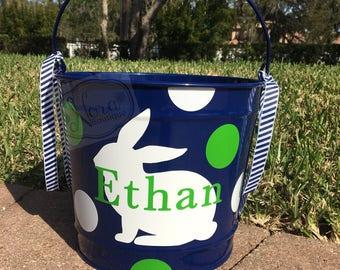 Easter Bucket- Personalized Easter Bunny Bucket/Basket