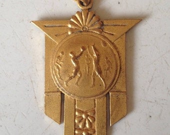 1936 Olympic Art Deco Basketball Commemorative Medal