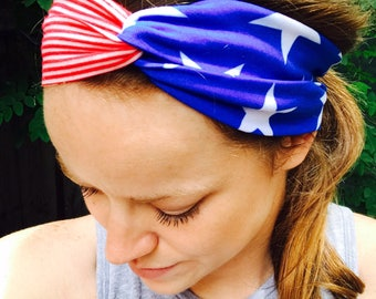 American Flag Turban-Twist Headband