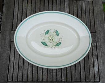 Vintage Susie Cooper Oval Serving Plate, Gardenia Pattern, Meat Plate, Mid Century