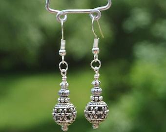 Silver Filigree Drop Earrings - Item 244