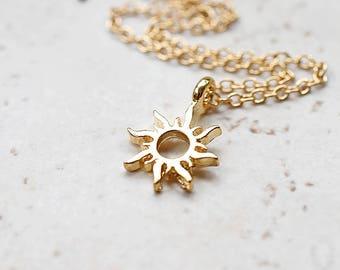 Tiny Gold Sun Necklace, Small Golden Sunshine Charm, Whimsical Boho Jewelry, Tribal Sun