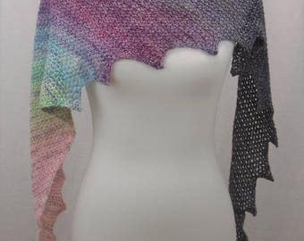 Crocheted Scarf Hand Dyed Gradient Merino Ready to Ship Free Shipping
