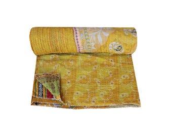 Handmade Cotton Kantha Quilt Queen Size Vintage Indian Sari Kantha Blanket Paisley Print Kantha Bedspread Kantha Bedding Throw