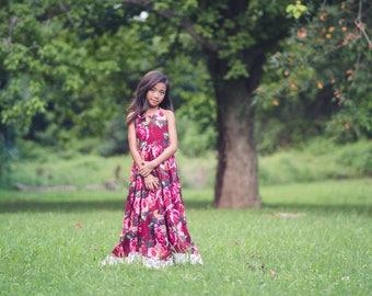 Girls Boho Maxi Dress, Floral Maxi Dress, Rose Dress, Fall Dress, Vintage Floral Dress, Flower Girl Dress, Burgundy Dress