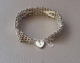 Silver bracelet, 5 bargate bracelet, ladies bracelet, with safety chain, padlock bracelet, gift, thank you gift, love you gift,