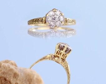 Antique Engagement Ring - 30s Retro Diamond Cluster Ring 14k Gold Platinum Setting, Vintage Diamond Ring, Vintage Ring, Art Deco Ring 7