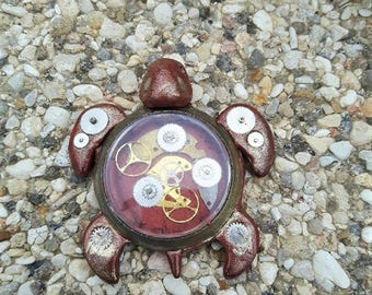 Made of polymer clay steampunk copper turtle decoration